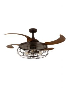 Fanaway Industri Ceiling Fan In Orb With Brown Coloured Retractable Blades And Light