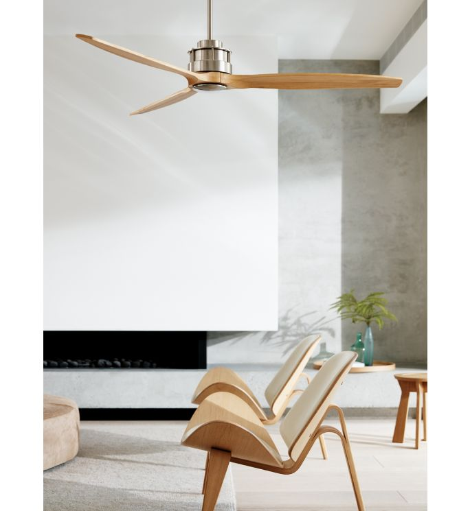 Lucci Air Akmani Brushed Chrome and Teak 60-inch DC Ceiling Fan