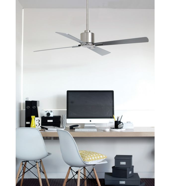 Lucci Air Climate Brushed Chrome and Silver 52-inch DC Ceiling Fan