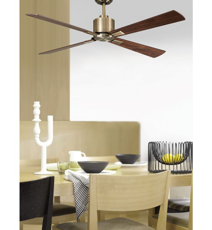 Lucci Air Climate Antique Brass and Walnut 52-inch DC Ceiling Fan