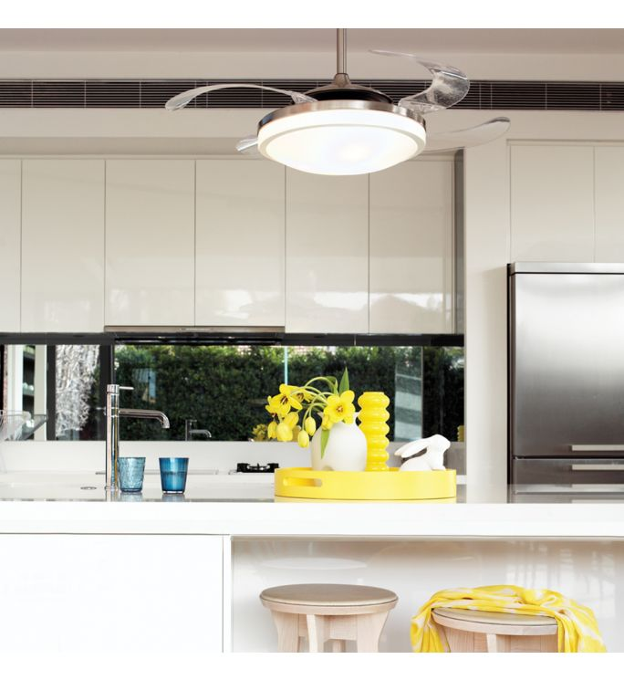 Fanaway Evo2 Brushed Chrome Retractable 4-blade Lighting with Remote Ceiling Fan