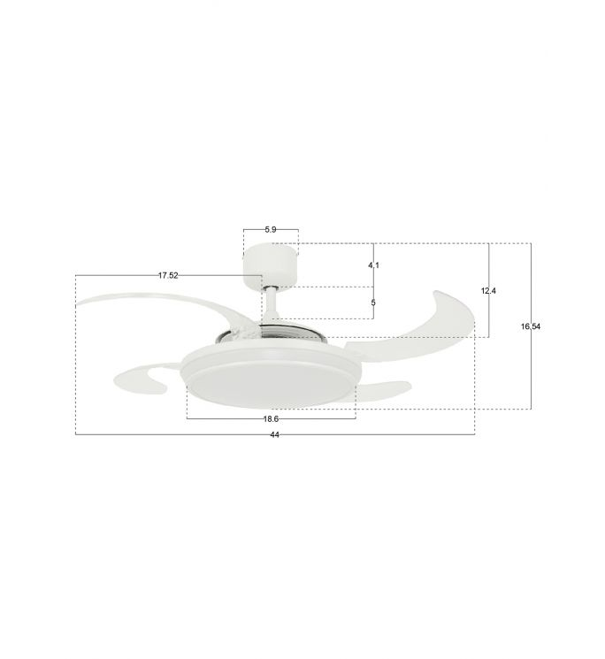 Fanaway Evo1 White Retractable 4-blade LED Lighting with Remote Ceiling Fan