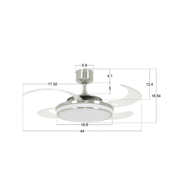 Fanaway Evo1 Brushed Chrome Retractable 4-blade LED Lighting With Remote Ceiling Fan