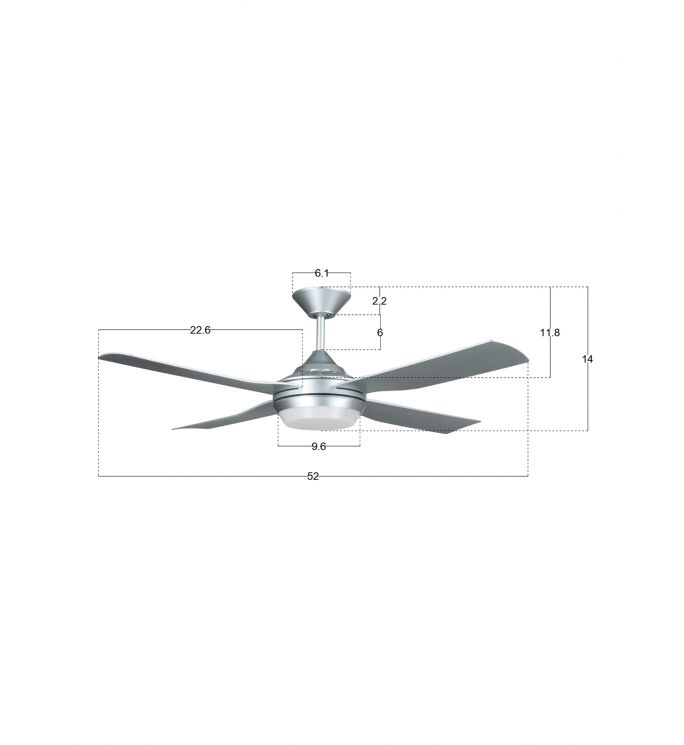 Lucci Air Moonah Silver 52-inch LED Light with Remote Control Ceiling Fan