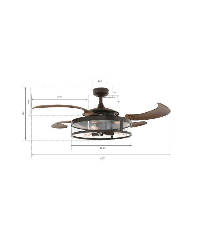 Fanaway Classic Oil Rubbed Bronze and Dark Koa Retractable 4-blade 48-inch 3-light AC Ceiling Fan