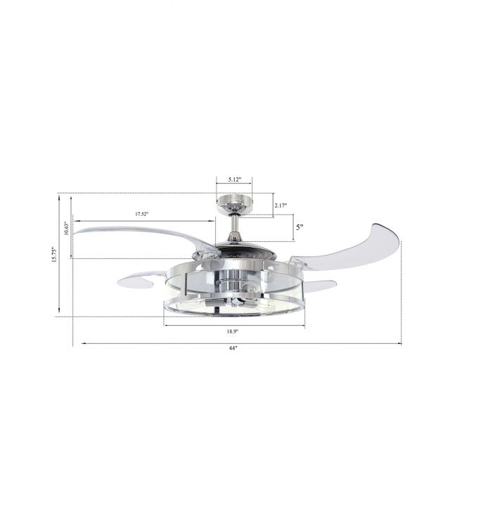 Fanaway Classic Chrome and Clear Retractable 4-blade 48-inch 3-light AC Ceiling Fan
