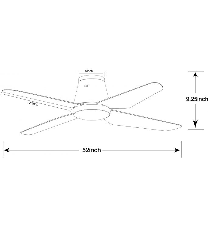 Aria 48-inch Close to Ceiling Fan Light In White