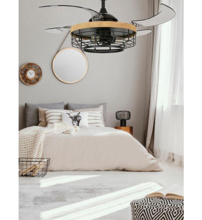Fanaway Montclair 48-inch Black with Teak Trim AC Ceiling Fan with Light