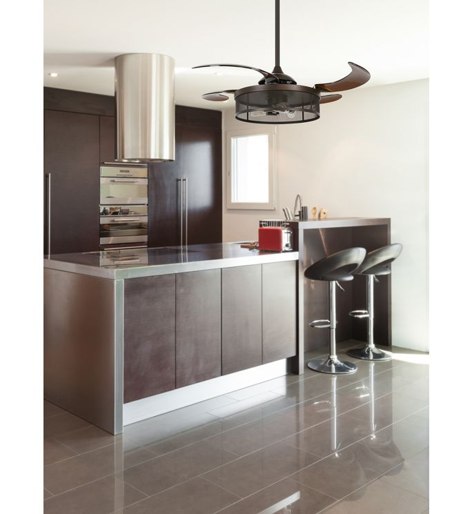 Fanaway Meridian 48-inch Oil Rubbed Bronze and Amber AC Ceiling Fan with Light