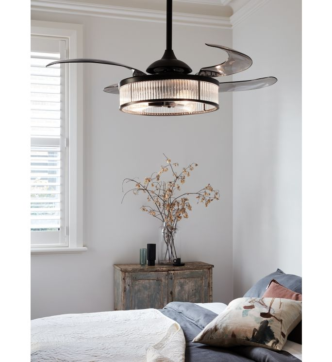 Fanaway Corbelle 48-inch Antique Black With Smoke Blades Ceiling Fan